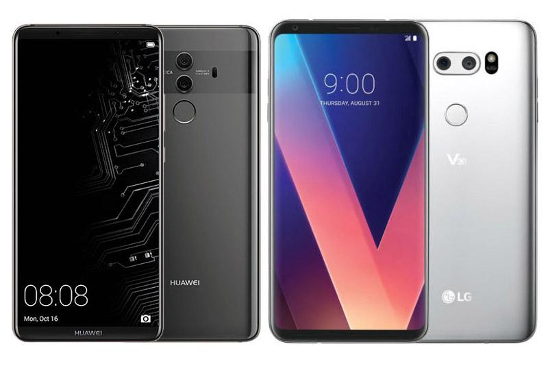 Huawei Mate 10 Pro (trái) và LG V30.