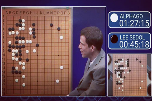 Trận đấu giữa AlphaGo và Lee Sedol năm 2016. Ảnh: Erikbenson.