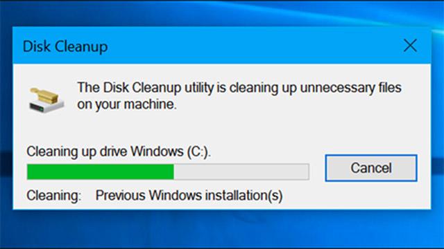 Tiện ích Disk Cleanup sẽ giúp làm sạch tất cả các dữ liệu bên trong hệ thống.