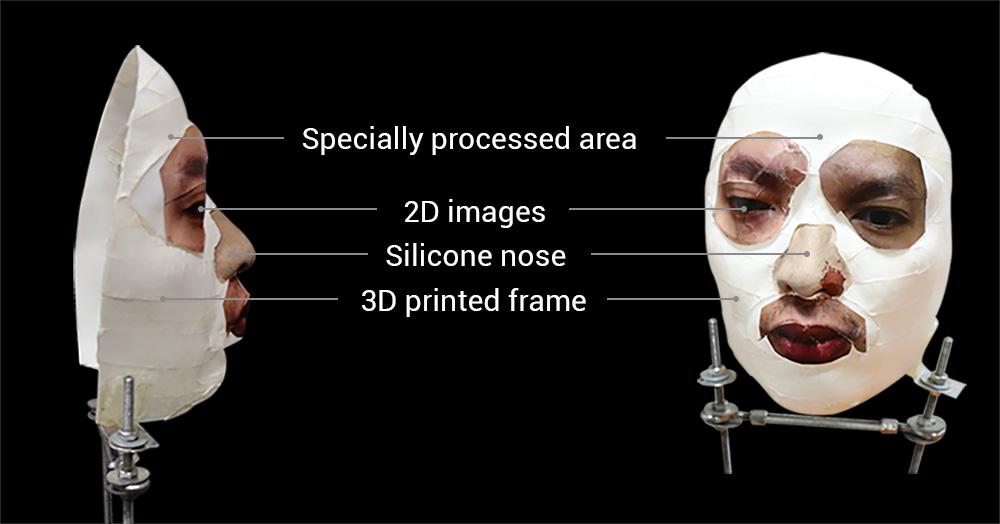 Chiếc mặt nạ hoàn chỉnh được kết hợp từ in 3D, in ảnh 2D cùng nhiều phụ kiện