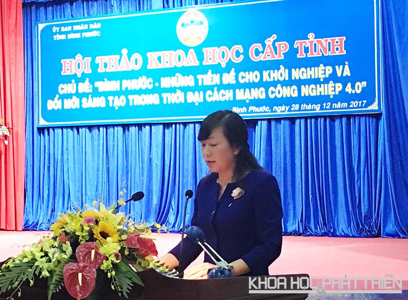 *Phát biểu khai mạc hội thảo, Bà Huỳnh Thị Hằng - Phó Chủ tịch thường trực Tỉnh Bình Phước kỳ vọng Bình Phước sẽ trở thành cái nôi khởi nghiệp trong vùng và vươn ra cả nước.