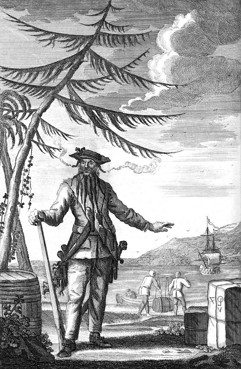 Cướp biển Râu đen (Blackbeard) hay Edward Teach (tên thật) huyền thoại, kẻ reo rắc nỗi kinh hoàng trên khắp các vùng biển Châu Mỹ, thường được nhắc đến trong các tác phẩm của Daniel Defoe hay Charles Johnson. Ảnh: Wikipedia
