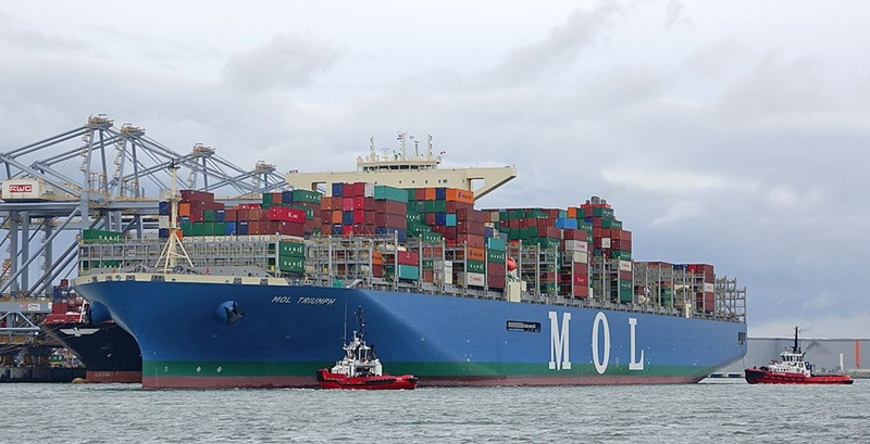 Samsung Heavy Industries (SHI) – một hãng đóng tàu ở Hàn Quốc – vừa cho ra mắt con tàu dài nhất thế giới MOL Triumph vào năm 2017. Tổng chiều dài của nó là 400 m, nặng khoảng 210.000 tấn. Ảnh: Wikimedia.