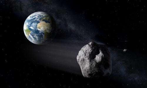 Minh họa tiểu hành tinh 2002 AJ129 bay lướt qua Trái Đất. Ảnh: P.Carril.