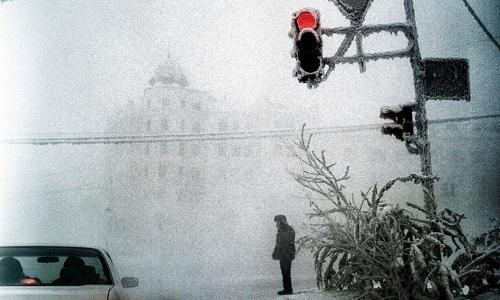 Đường phố mờ sương giá ở Yakutsk. Ảnh: Steeve Iuncker.