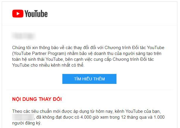 YouTuber tại Việt Nam bắt đầu nhận thông báo tắt kiếm tiền nếu kênh của họ không đủ điều kiện.