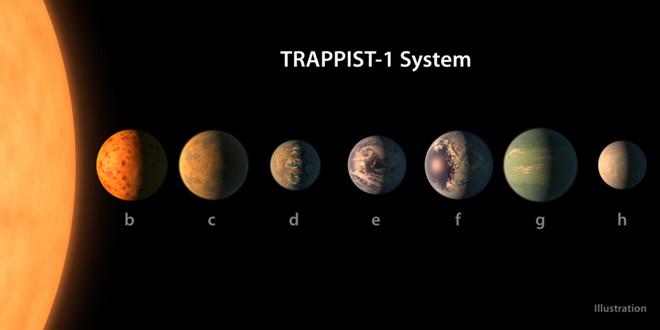 Mô phỏng hệ hành tinh Trappist-1 với 7 hành tinh được ký hiệu từ b đến h. Đồ họa: NASA/JPL-Caltech.