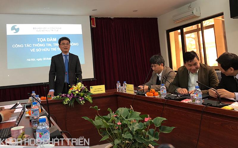 Ông Đinh Hữu Phí - Cục trưởng Cục Sở hữu trí tuệ phát biểu tại buổi tọa đàm.