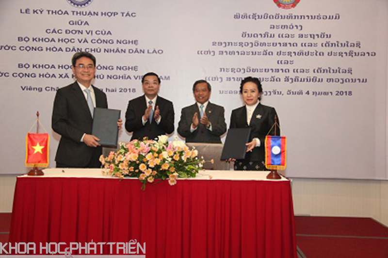 2.Cục trưởng Cục Sở hữu trí tuệ Việt Nam Đinh Hữu Phí và Vụ trưởng Vụ Sở hữu trí tuệ, Bộ Khoa học và Công nghệ Lào Khanlasy Keobounphanh đã ký Bản ghi nhớ hợp tác trong lĩnh vực chỉ dẫn địa lý