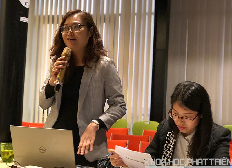 Bà Phan Hoàng Lan nói về những khó khăn trong việc thu hút vốn cho khởi nghiệp. Ảnh: P. Nguyên.
