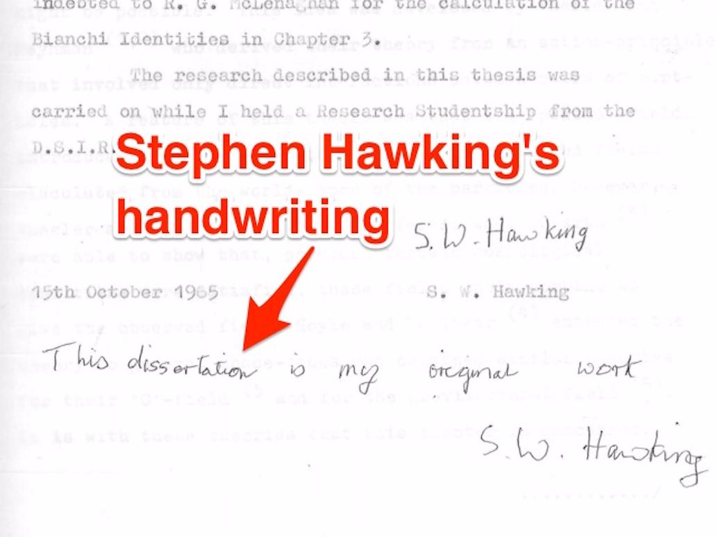 Tuyên bố viết tay của Stephen Hawking. Ảnh: Cambridge University Library