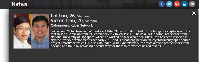 Lợi Lưu và Victor Trần trên website của Forbes