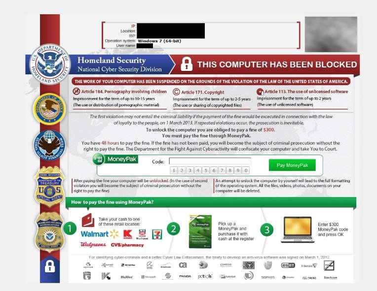 Mã độc lừa đảo Reveton sử dụng logo của FBI và NSA