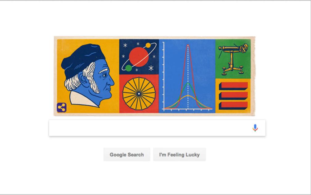 Google Doodle vinh danh Gauss nhân ngày sinh nhật lần thứ 241 của ông. Ảnh: Live Science