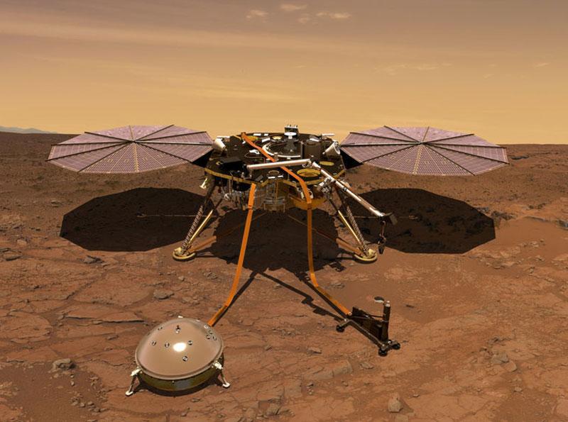 Thiết bị đổ bộ InSight của NASA. Nguồn: JPL-Caltech