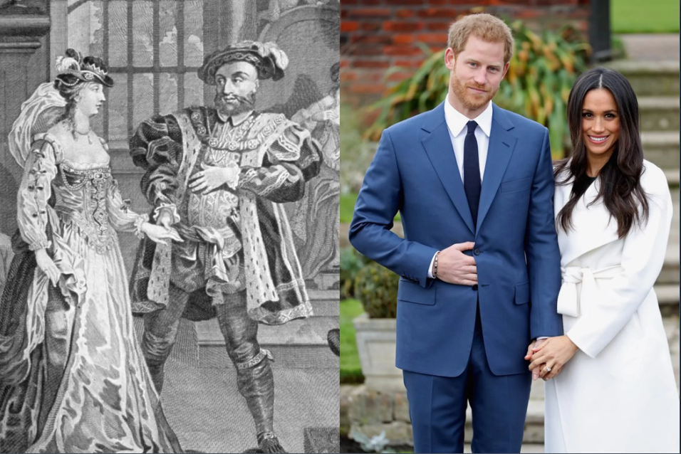 Đám cưới của Hoàng tử Harry và diễn viên người Mỹ Meghan Markle (từng ly dị một lần) được tổ chức vào ngày 19/05, đúng ngày Hoàng hậu Anne Boleyn bị hành quyết. Ảnh: Time Life Pictures/Mansell/The LIFE Picture Collection/Getty Images (trái); Chris Jackson/Getty Images (phải)