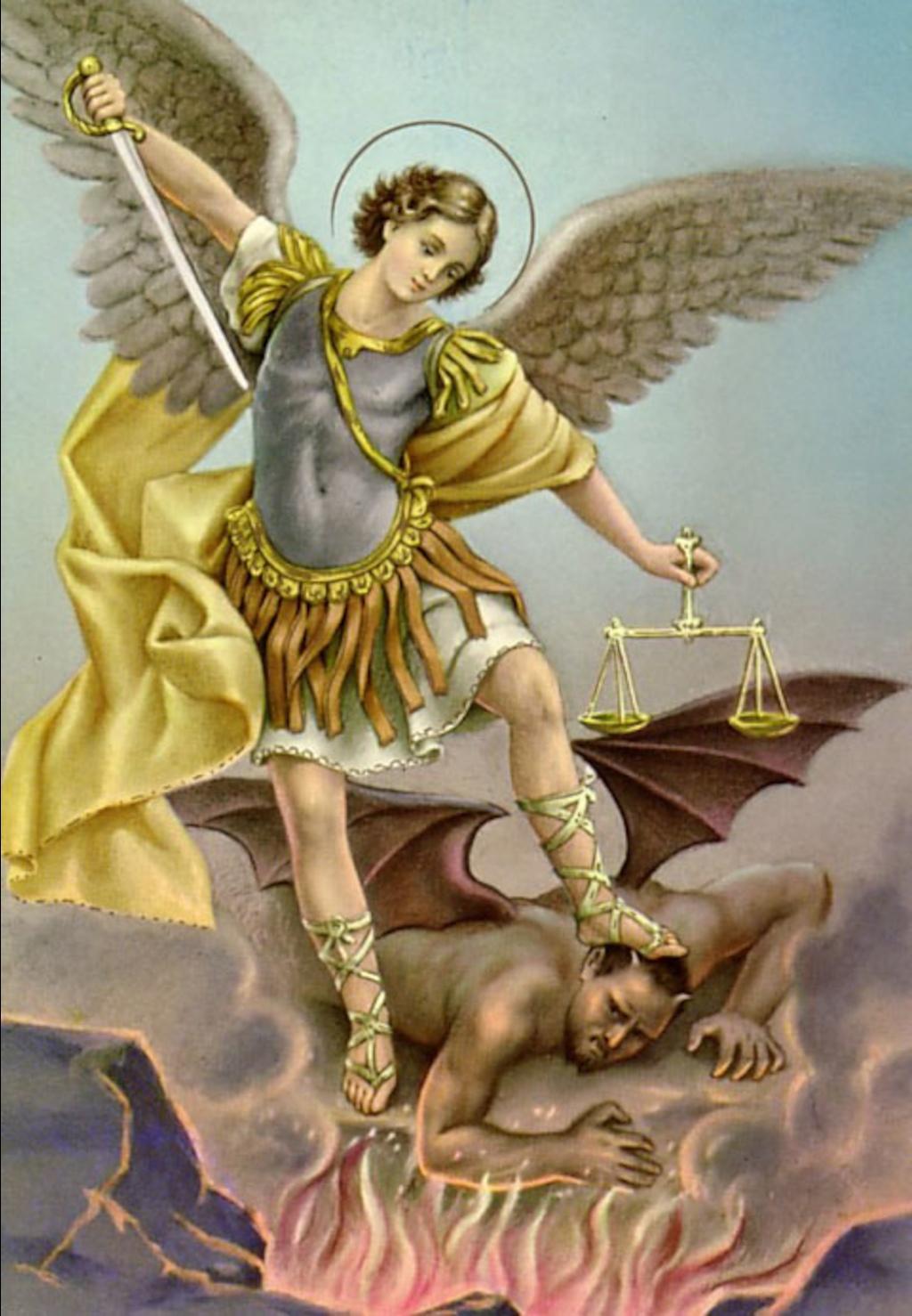 Tổng lãnh thiên thần Michael và Satan. Ảnh: Steam Community