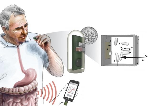 Sơ đồ hoạt động của bộ cảm biến chứa trong viên nang - Ảnh: Science