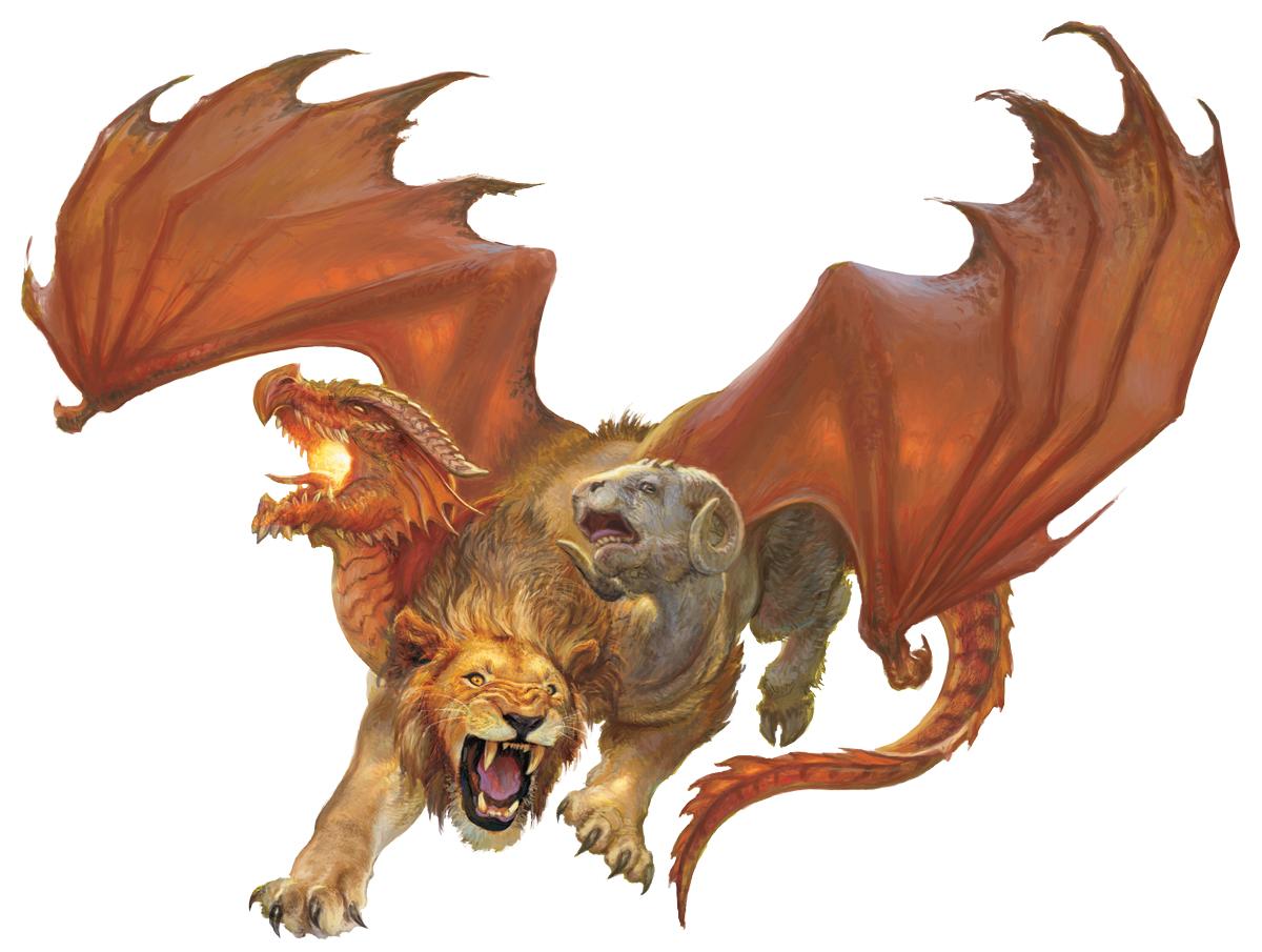 Một hình tượng chimera trong thần thoại (sư tử lai rồng và linh dương). Ảnh: Wikimedia