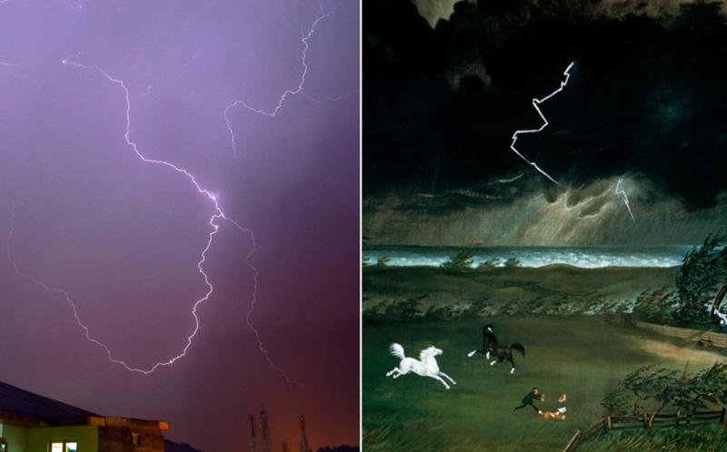 """So sánh hình ảnh chụp tia sét trong cơn dông diễn ra tại Srinagar, Kashmir (Ấn Độ) năm 2018 với tia sét vẽ trong bức tranh """"American Painting of Running Before the Storm"""". Ảnh: Saqib Majeed."""