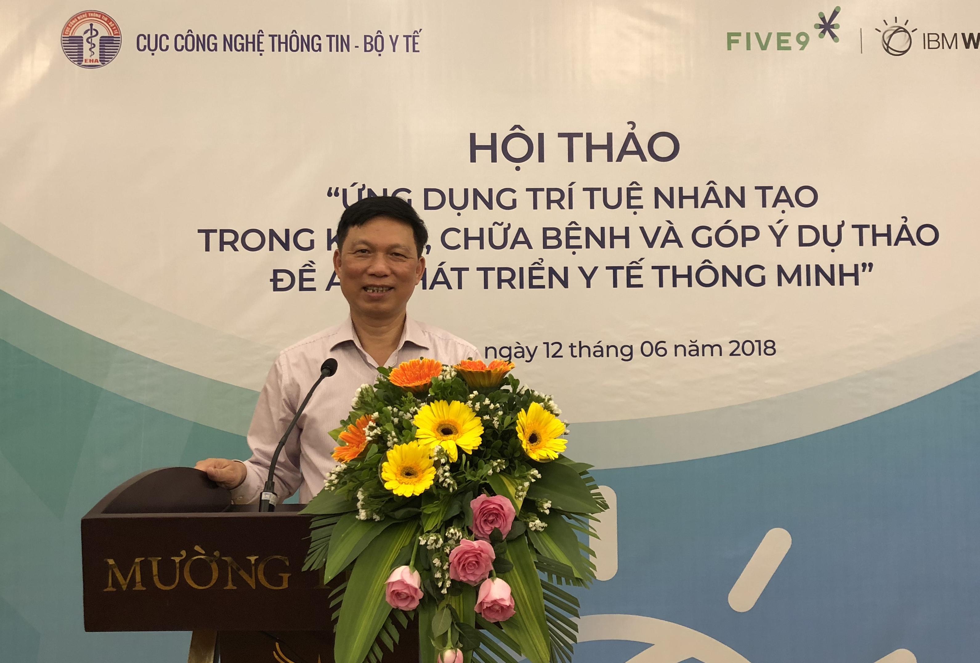 Ông Trần Quý Tường, Cục trưởng Cục Công nghệ thông tin, Bộ Y tế tại Hội thảo.