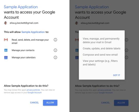 """Một ứng dụng hỏi """"xin phép"""" truy cập vào Gmail của người dùng."""