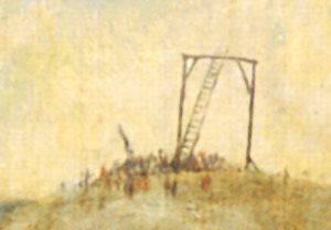 Đằng sau rất xa là cảnh người ta đang tụ tập để bắc một chiếc thang thật là cao…