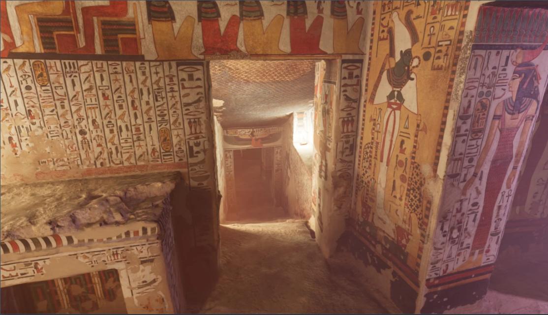 Hình ảnh bên trong khu lăng mộ Nefertari, hiển thị nhờ công nghệ thực tế ảo. Ảnh: Curiosity Stream