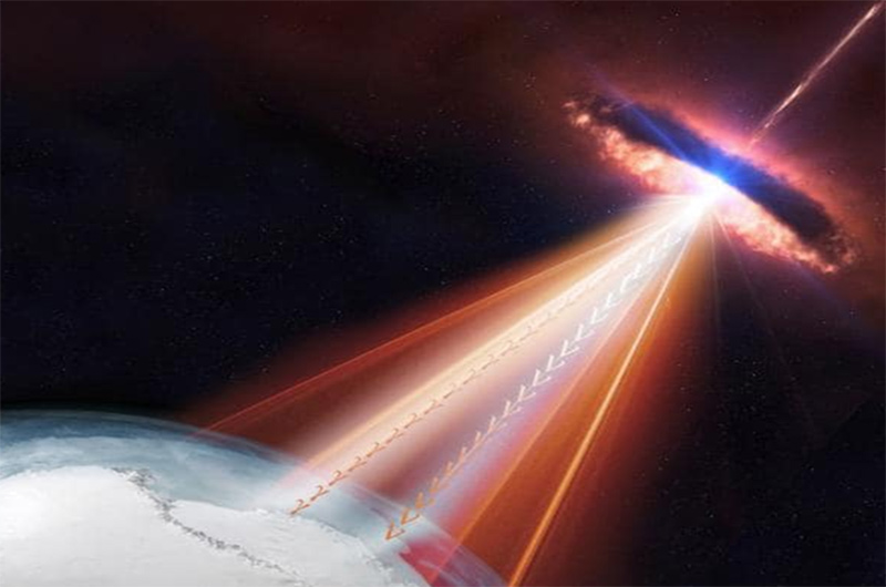 Hạt neutrino từ hố đen hướng thẳng tới Trái Đất. Nguồn: NASA