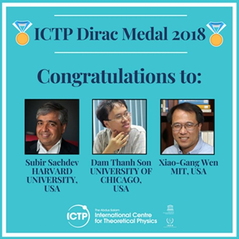 Ba nhà khoa học giành Huy chương Dirac 2018. Ảnh: ICTP.