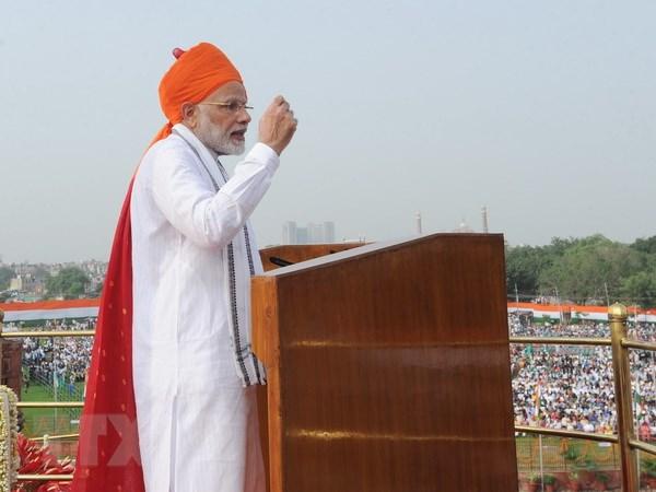 Thủ tướng Ấn Độ Narendra Modi trong bài phát biểu nhân dịp kỷ niệm 72 năm Ngày Độc lập. (Nguồn: THX/TTXVN)