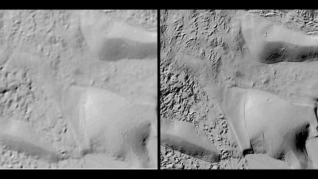 Độ phân giải của bản đồ Nam Cực trước kia khi so sánh với REMA vừa hoàn tất. Ảnh: Fox9