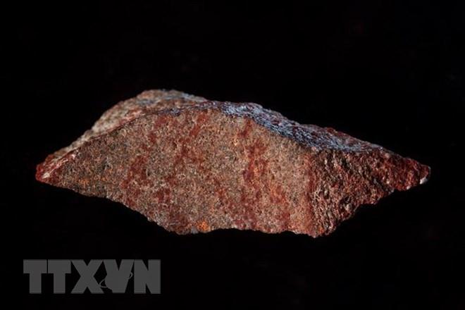 Bản vẽ trên phiến đá nhỏ có niên đại vào khoảng 73.000 năm tuổi được phát hiện tại Hang Blombos ở tỉnh Western Cape , Nam Phi ngày 12/9. (Nguồn: AFP/TTXVN)