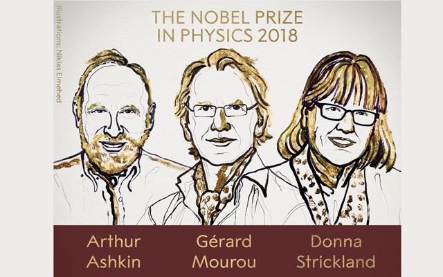 Ba nhà vật lý đạt giải Nobel 2018. Ảnh: Quỹ Nobel.