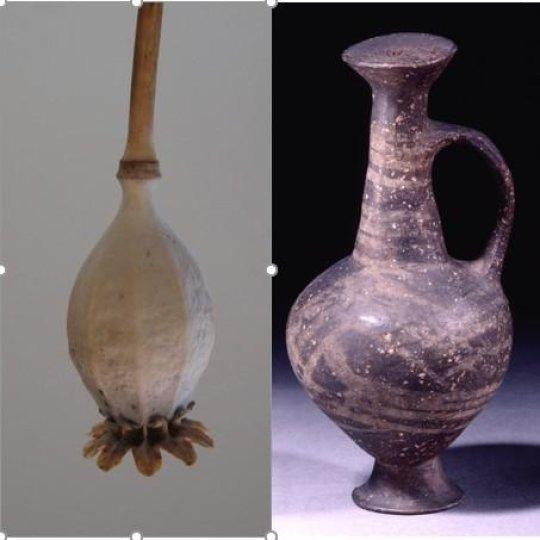 Hình dạng giống hạt cây thuốc phiện của chiếc bình base-ring juglet. Nguồn: British Museum