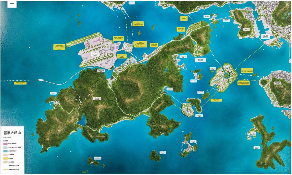Nếu được xây dựng, đảo nhân tạo Đông Lạn Đầu có thể sẽ đáp ứng chỗ ở cho gần 1 triệu dân. Ảnh: Lantau News.
