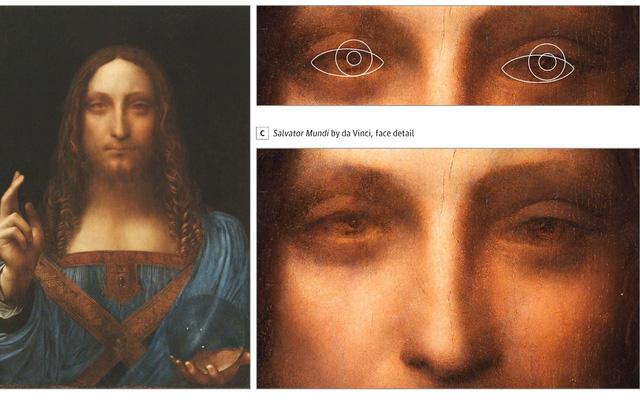 Leonardo đã sử dụng hình ảnh của chính mình làm khuôn mặt của Chúa trong kiệt tác Salvator Mundi và hai con ngươi được thể hiện phân tuyến - Ảnh từ Đại học City, Luân Đôn