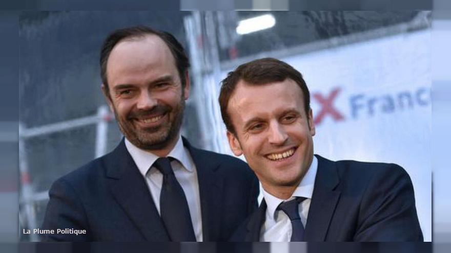 Thủ tướng Édouard Philippe và Tổng thống Pháp Emmanuel Macron. Ảnh: LOIC VENANCE/AFP.