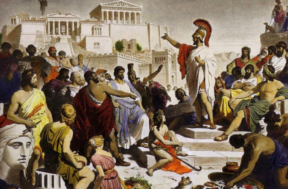 Bức tranh Bản điếu văn của Pericles. Philipp Foltz (1852).