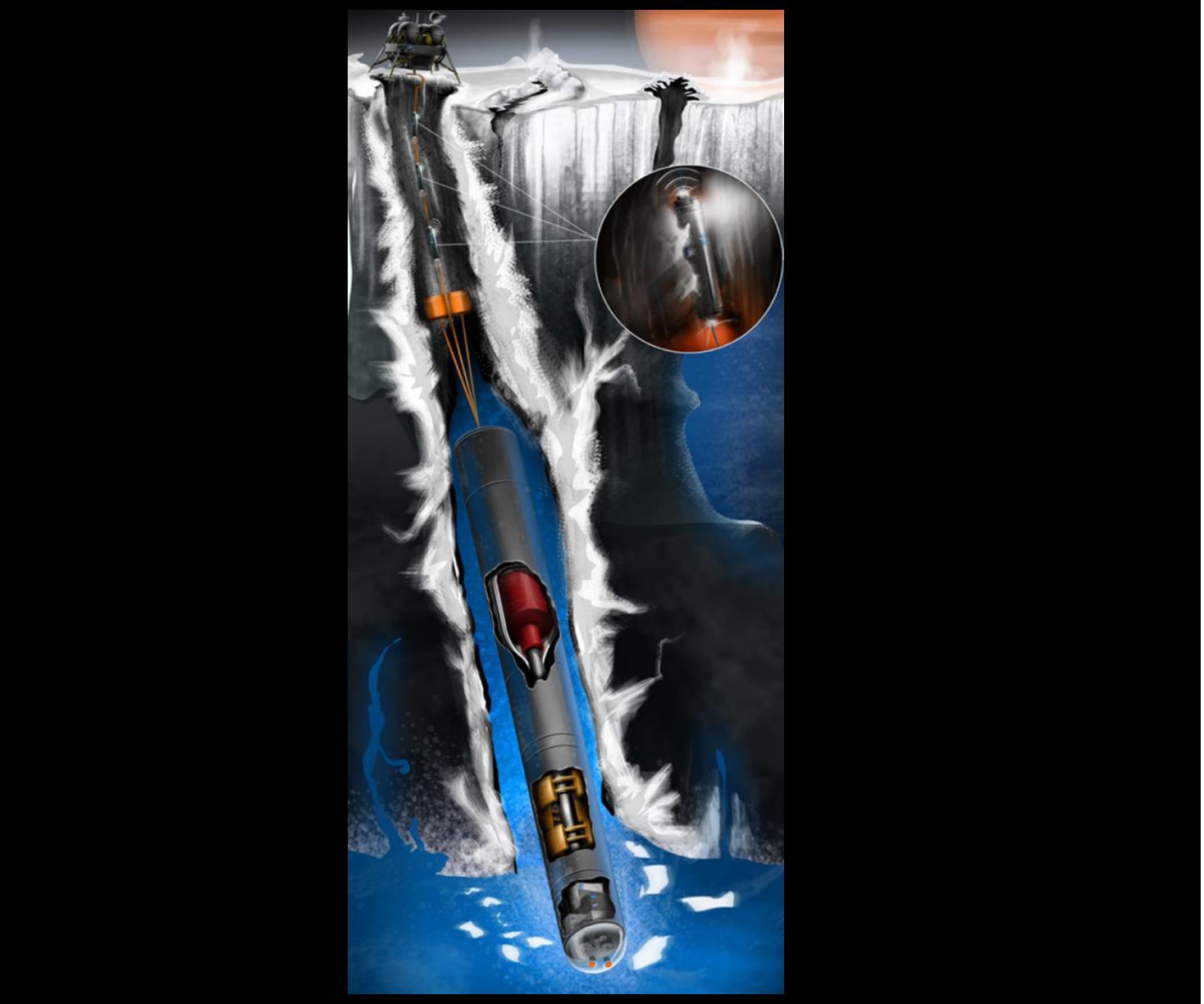 Hình minh họa tái dựng tàu robot đào hầm tại mặt trăng Europa. Ảnh: Trung tâm nghiên cứu NASA Glenn
