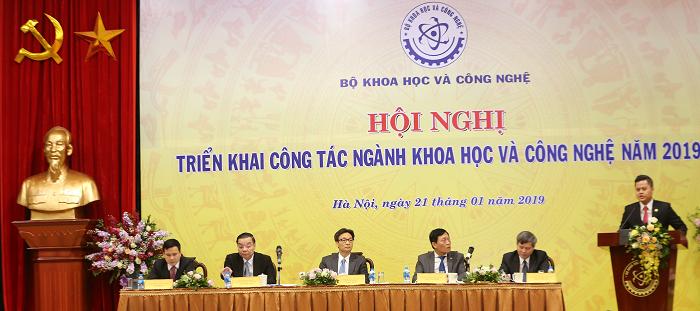 Hội nghị triển khai công tácngành KH&CN năm 2019 diễn ra vào sáng ngày 21/1/2019. Ảnh: Đình Nam.
