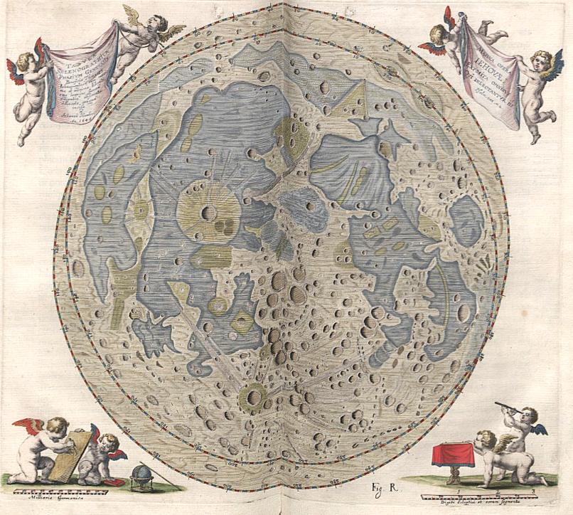 Bản đồ vẽ Mặt trăng của Johannes Hevelius. Ảnh: Wikimedia