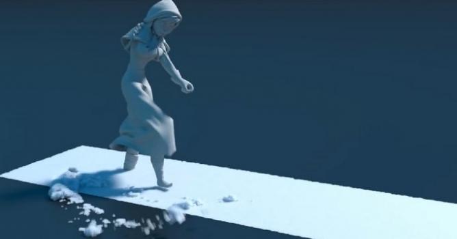 Mô phỏng tuyết trong phim hoạt hình Frozen (2013)