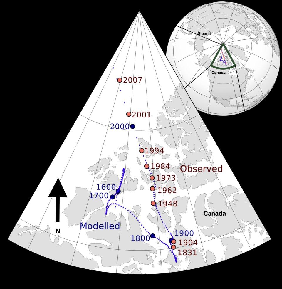 Bản đồ dịch chuyển cực từ phía Bắc từ năm 1600 đến năm 2007. Ảnh: Wikimedia