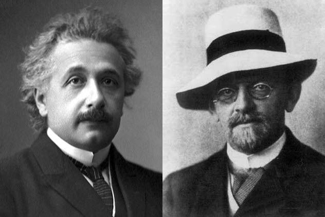 Einstein và Hilbert đã từng ganh đua chứng minh Thuyết Tương đối rộng. Ảnh: Listverse.