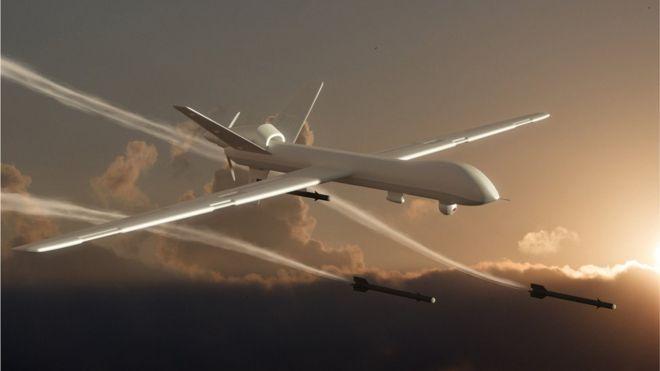 Viễn cảnh chiến tranh tương lai với sự tham gia của hàng đàn drone và các binh đoàn robot sát thủ được trang bị AI. Ảnh: BBC.