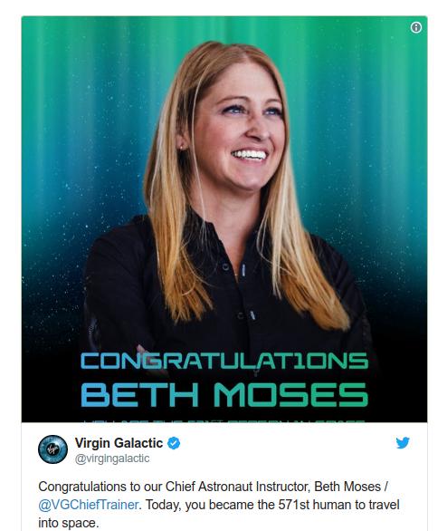 Beth trở thành người phụ nữ đầu tiên bay vào quỹ đạo trên một phi thuyền thương mại của Mỹ. Ảnh: Twitter.