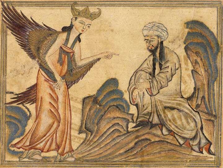 Mohammed gặp Thiên thầnGabriel - người được phái xuống để thông báo rằng ông đã được chọn làm sứ giả củaThiên Chúa. Ảnh: Wikimedia