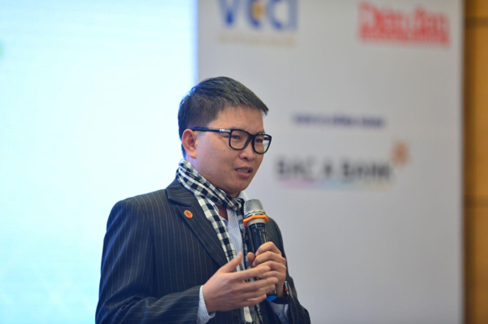 Nguyễn Tiến Trung tại Festival Khởi nghiệp ngày 18/1/2019, Phòng Thương mại và Công nghiệp Việt Nam (VCCI). Ảnh: KH&PTPT