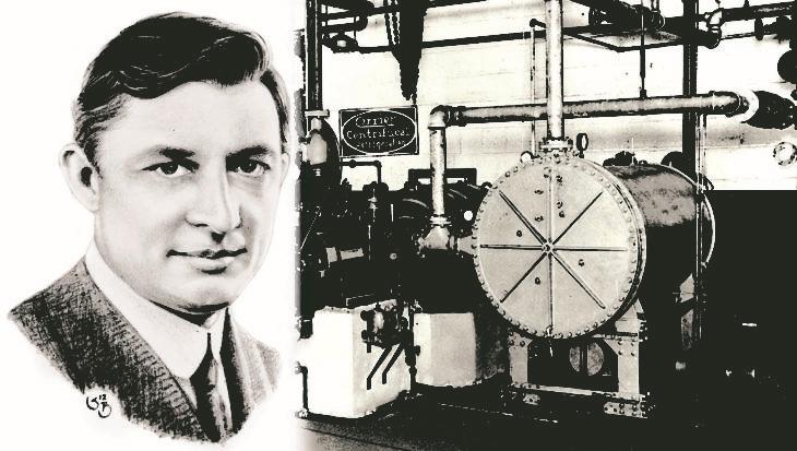 Willis Carrier và cỗ máy điều hòa không khí đầu tiên do ông chế tạo. Ảnh: Times